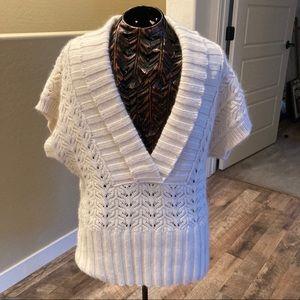 Ann Taylor  v neck short sleeve angora sweater M